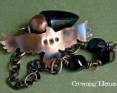 The Morrigan:  Rainbow Obsidian Pendulum ~ The Wild Hunt