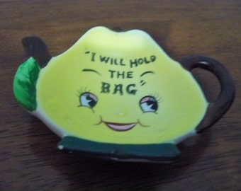 i will hold the bag tea bag holder vintage  anthropomorphic spoon rest  kitchen deco