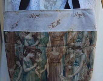 Tote, Bible Bag, Handmade AngelTote, Fabric Bag, Christian Tote, Teal and Browns Fabric Tote, Insprinational Bag, Jesus Bag, Faith Bag