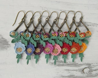 Colorful Victorian Rose Earrings / Custom Color Hand Painted Lace / Unique Eco Friendly Valentines Gift for Her / Pendientes de Encaje