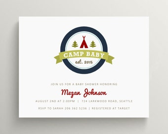 camp baby baby shower invitation // camping baby shower // birthday invitation // camping party // camp out // woodland // wilderness
