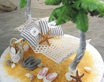 Beach Theme Honeymoon Hammock  Wedding Cake Topper Custom Colors Handmade To Order With Palm Trees, Flip Flops, And More