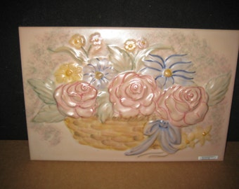 Roses and Daisies in basket Hand Painted Ceramic Mural 1 pc Lot 182