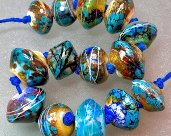 Ooak lampwork rustic bead set of 14 orphans beads with enamels and metals, organic beads tribal ancient beads prayer beads unusual lampwork