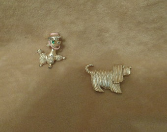 Dog Pins Poodle & Lhasa Apso Sarah Coventry Gold Tone Vintage