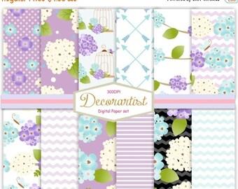 """ON SALE Purple Hydrangea Digital Paper ,no.106- summer scrapbooking digital paper 12x12"""",Blue Hydrengea, Purple flowers background, instant"""