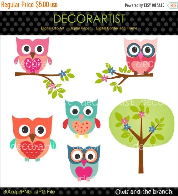 ON SALE Digital clip art owls,Owls and the branch , owl clip art, instant download