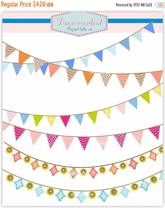 ON SALE Banner clip art, flag banner, holiday craft banners.