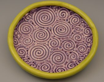 Purple and Green Apple Coiled Swirl Plate 2
