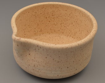 Ceramic Batter Pouring Bowl - Almond with Brown Accents
