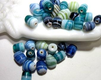 36 Handmade lampwork beads blue green swirl beads handmade glass diy jewelry supply beach wedding jewelry glass beads (SB1),