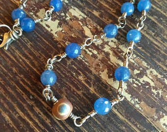 Faceted Blue Agate with Syrian Eye Bead Necklace for Protection