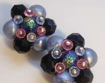 FUN 50's CLUSTER Bead Earrings/ Pink, Light Blue, Grey, Black, and Irisdescent Purple Pink Blue BEADS / Clip Ons