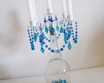 Seaside Chic Aqua and Ocean Blue Taper Style Iron and Glass Candelabra MADE TO ORDER