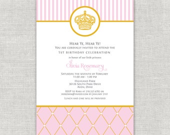 Royal Princess Birthday Invitation, Crown, Tiara, Pink Birthday Party, Queen, Royalty