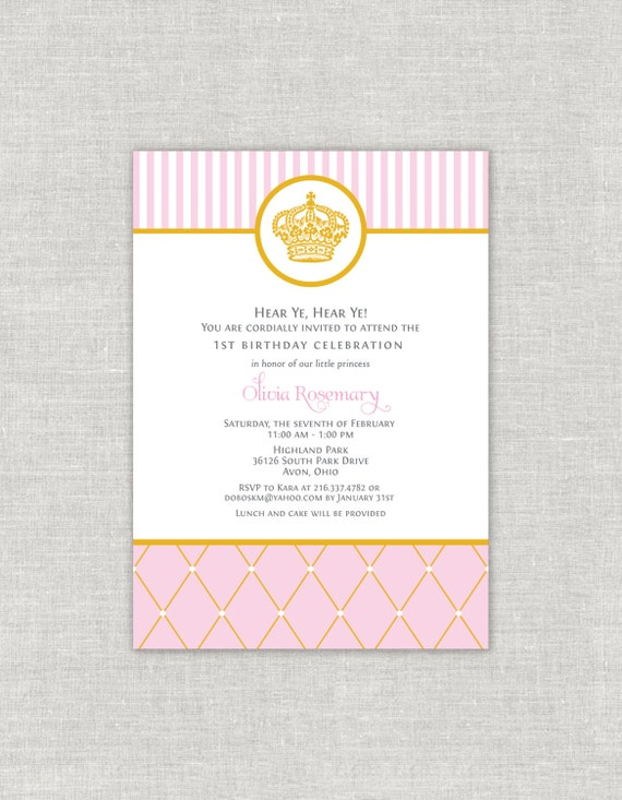 Royal Princess Birthday Invitation Crown Tiara Pink