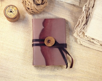 Memories - leather journal with unlined paper and wood button, blank page book, notebook, handmade diary, travel journal, One of a Kind