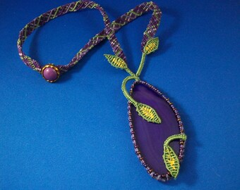 Purple Agate Slice Micro-Macrame