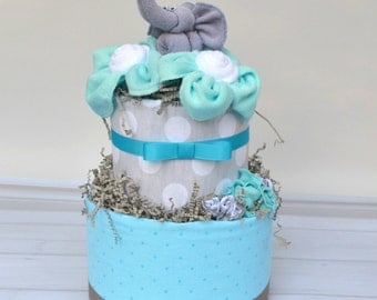 Elephant Diaper Cake - Aqua and Gray Baby Shower - Baby Shower Decoration - Neutral Diaper Cake - New Baby Gift - Baby Shower Centerpiece