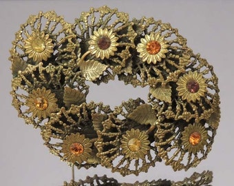Art Deco Vintage Czech Floral Brooch / Czech Gold Floral Brooch /  Czech Floral Rhinestone Brooch / Gold Floral Brooch / Gold Floral Pin