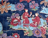 Vintage Fabric - Chinoiserie Quilted Calico Garden Landscape - 44 x 38