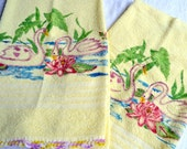 Vintage Bath Cannon Bath Towels - Swans and Lotus - 2 Yellow