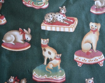 Vintage Fabric - 5th Avenue Staffordshire Animals on Green - By the Yard