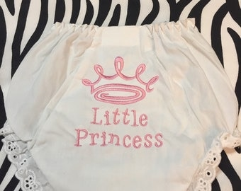 Little Princess Diaper Cover Bloomers Size 0-6-12-18-24-2T-3T-4T White Diaper Cover Personalized