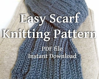PDF Knitting Pattern Textured Scarves Country Blue Scarf Beginner Knitters Scarf Tutorial You Can Sell What You Make Instant Download File