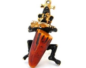BAKELITE DRUM Figural Necklace Pendant | Enamel African Native Tribal Drummer | Vintage 1960s Jewelry
