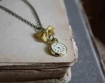 Alice in Wonderland Necklace - White Rabbit's Clock - Fairy Tale Jewelry