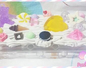READY To SHIP Kawaii Fairy Kei Teddy Bear and Lollipop New 3DS XL Deco Case Ice Cream Cookie Oreo Pastel Sweet