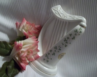 Lovely Royal Tara Bone China Harp With Shamrocks - Vintage - Collectible - Made in Galway - Ireland - Good Luck - Music