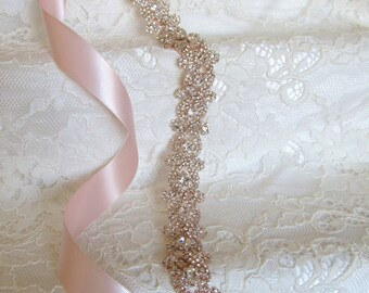 Rose Gold Crystal Rhinestone Bridal Sash,Wedding sash,Bridal Accessories,Bridal Belt, style #29