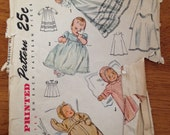 vintage 1940's newborn infant layette set sewing pattern simplicity 3056