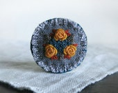 Embroidered Textile Art Brooch - Yellow Rose Brooch - Embroidered Brooch