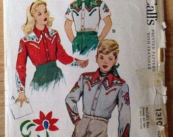 Vintage 40s McCalls 1310 Boy's and Girl's Western Shirt - size 6