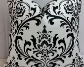 """black and white traditions damask, medallion toss pillow 18"""" square"""