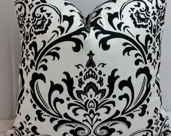 "black and white traditions damask, medallion toss pillow 18"" square"