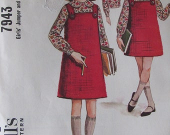 McCalls 7943 Girls Jumper and Blouse Size 8 Chest 26 in Uncut Sewing Pattern 1965