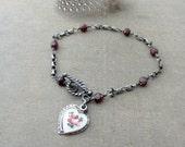Oxidized Garnet Bracelet, Silver Locket Bracelet, January Birthstone Bracelet, Heart Locket, Guilloche Locket, Religious Jewelry, Push Gift