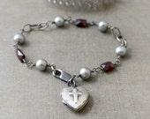 Silver Heart Locket Bracelet, Sterling Silver Locket, Silver Cross Locket, Pearl Bracelet, June Birthstone Bracelet Garnet Birthstone Locket