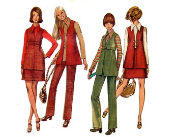 1970s Wardrobe Pattern Pointed Collar Top, A Line Mini Skirt, Pencil Pants, Belted Vest Simplicity 8924 Teen Bust 35 Vintage Sewing Pattern