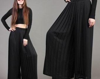 vintage ACCORDION PLEATED sheer PALAZZO chiffon black high waist wide leg pants 1980s 80s small medium S M