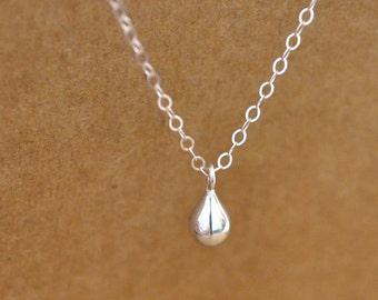silver rain drop necklace, RAINING DAY, teardrop necklace, rain drop, clear water, petite water drop necklace