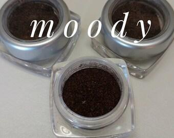 MOODY Mineral Make up EYE Shimmer - Vegan Friendly, Sparkly Eye Shadow, Mica Powder 5ml Dark Brown Shimmer for EyeLid or apply wet for Liner