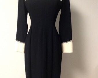 Vintage Couture Jacques Fath Paris Black Wool Crepe Dress
