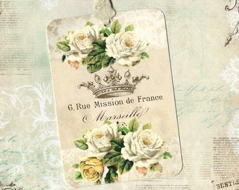 Tags, French Roses, Gift Tags, French Style, Crown, Party Favors, French Tags