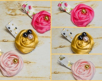 Baby Girl Hair Clip Set, Fabric Rosette Clips, Little Girls Rolled Rosettes w beads Shiny Gold Pink Floral Roses Dots Non Slip Butterflies