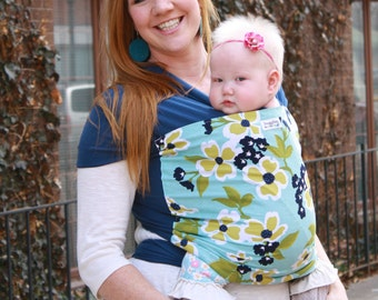 100% Cotton Baby Carrier -  Hybrid Stretch Wrap - Dogwood Blues - Comfortably Carry Newborn to Toddlers on Your Front or Back